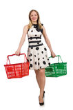 Woman in supermarket shopping concept Stock Photo