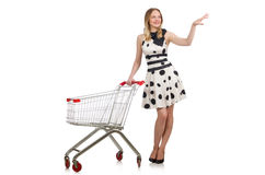 Woman in supermarket shopping concept Royalty Free Stock Photography