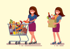 Woman in supermarket. Vector woman in supermarket with shopping cart vector illustration