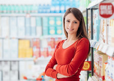 Woman at the supermarket Royalty Free Stock Images