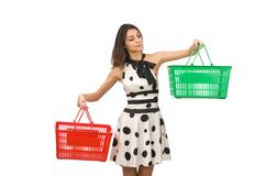 Woman with supermarkey basket Stock Images