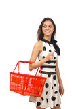 Woman with supermarkey basket Royalty Free Stock Photo