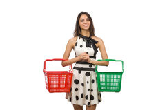Woman with supermarkey basket isolated on white Royalty Free Stock Photos