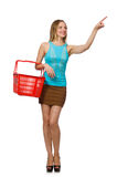 Woman with supermarkey basket isolated on the Royalty Free Stock Photo