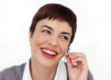 Woman is a support phone operator Royalty Free Stock Photo