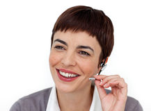 Woman is support phone operator Stock Images