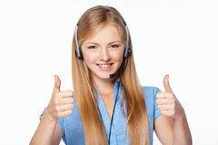 Woman support phone operator in headset Royalty Free Stock Photo