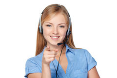 Woman support phone operator in headset Royalty Free Stock Photography