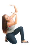 Woman Supporting Falling Object Above Pushing Up royalty free stock photography