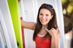 Woman by Surf Boards royalty free stock photos