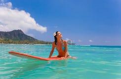 woman surfboard stock photo