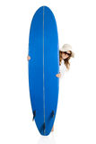 Woman with a surfboard stock image