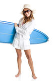 Woman with a surfboard Stock Photo