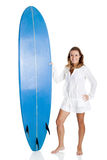 Woman with a surfboard Royalty Free Stock Photo