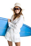 Woman with a surfboard Stock Photography
