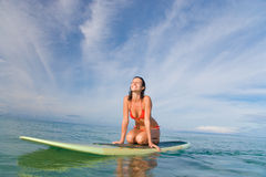 Woman surfboard smile. Woman happy on stand up paddle board smiling in maui, hawaii Stock Images