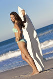 Woman Surfer In Bikini With Surfboard At Beach Royalty Free Stock Photo