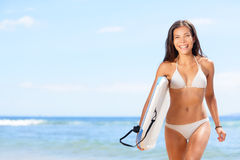 Woman surfer girl on beach Royalty Free Stock Photos