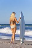 Woman Surfer Girl Bikini With Surfboard At Beach Royalty Free Stock Photos