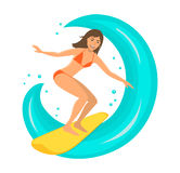 Woman surfer riding the wave on surfboard Stock Photos