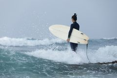 Woman surfer with surfboard stock image