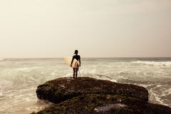 Woman surfer with surfboard royalty free stock image