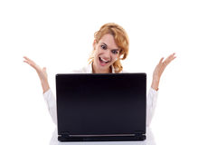 Woman surfing  on the internet. Beautiful young caucasian woman surfing  on the internet Stock Photography