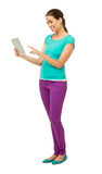 Woman Surfing Net On Tablet Computer Stock Photography