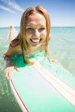 Woman surfing in sea Stock Photo