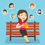 Woman surfing in the social network. royalty free illustration