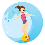 Woman Surfing Wave. Beautiful young woman surfing beach water wave with surfboard Stock Photos