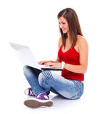 Woman surfing the web Royalty Free Stock Photography