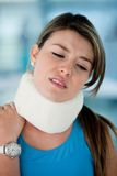 Woman with surgical collar Royalty Free Stock Photo