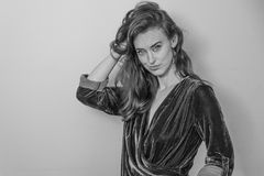 Woman in Surplice-neckline Long-sleeved Blouse Grayscale Photography Royalty Free Stock Image