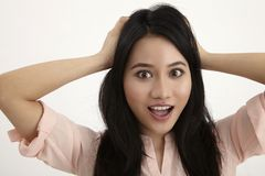 Surprise. Woman surprise with hand rest on head Royalty Free Stock Images