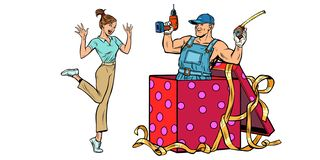 Woman surprise. repairman as a gift stock illustration