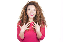Woman surprised, amazed, being chosen. Woman surprised, amazed, being chosen over white background Royalty Free Stock Images