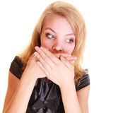 Woman surprised buisnesswoman covers her mouth isolated Royalty Free Stock Photos