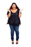 Woman surprised. Cute large young woman looking surprised isolated on white Royalty Free Stock Images