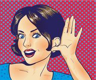 Woman with surprised face listening to a whisper. Vector illustration in pop art retro comic style. Halftone effect background Stock Image
