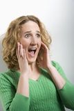 Woman with Surprised Facial Expression Royalty Free Stock Photos
