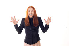 Woman with a surprised happy eyes waving hands Stock Image