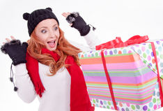 Woman surprised at receiving a gift Royalty Free Stock Photo