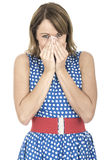 Woman Surprised Wearing Blue Polka Dot Dress Stock Photography