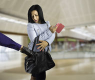 Woman surprises thief stock photography