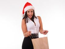 Woman surprized with shopping bag Stock Photo