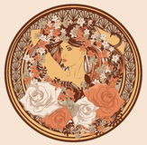 Art Nouveau styled woman in circle. Woman surrounded by flowers in an Art Nouveau style Royalty Free Stock Photo