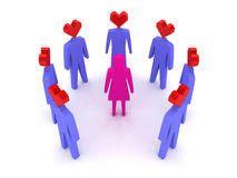 A woman surrounded by men in love. Royalty Free Stock Image