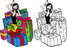 Woman Surrounded By Presents Royalty Free Stock Photos