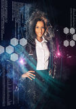 Woman surrounded by science and technology symbols Stock Images